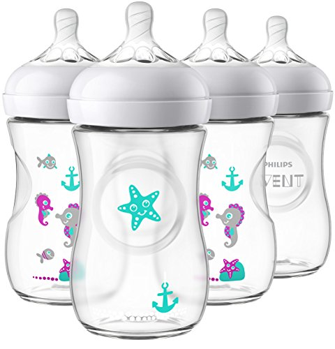 Philips Avent Natural Baby Bottle with Seahorse Design, 9oz, 4pk, SCF659/47 -