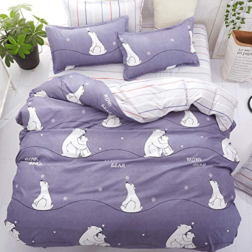 Vefadisa Kids Purple Full Comforter with 1 Comforter Cover 1 or 2 Pillow Covers 1 Flat Sheet-3 or 4pcs with Pattern Printed Cute Animal Polar Bear Bedding Set for Boys Girls