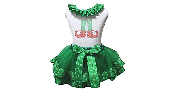 Petitebella Bling Xmas Shoes White Shirt Snowflake Green Petal Skirt Nb-8y