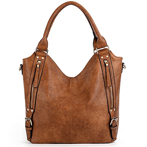 Women Fashion Leather Handbags Bags Brown Capacity PU UTO Tote Handbags Brown Large Bags Shoulder Hobo 1wqx0nzdR