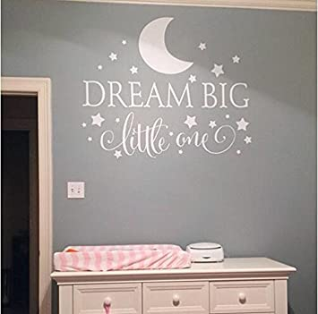Dream Big Little One Quotes Wall Decal Nursery Wall Sticker Baby Nursery  Bedroom Art Decor Kids