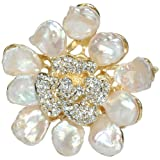 Dahlia Abstract Flower Petal Cultured Pearls Gold-Tone Crystal Pistil Brooch Pin Pendant (9-11mm)