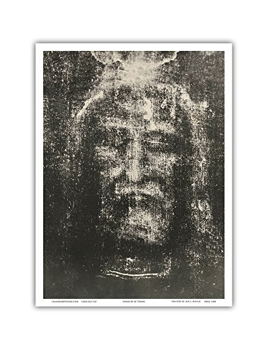 The Shroud of Turin - Sindone di Torino - Sacra Sindone - Reverse Photographic Plate of Turin Shroud - Vintage Religious Art by Secondo Pia c.1898 - Master Art Print - 9in x 12in