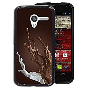 A-type Arte & diseño plástico duro Fundas Cover Cubre Hard Case Cover para Motorola Moto X 1 1st GEN I (Brown Chocolate Milk Breakfast Sweet)