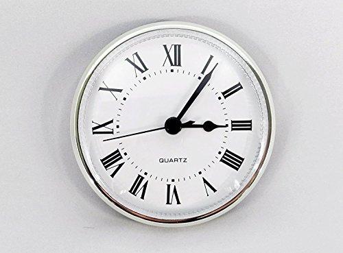Clock Fitup 3-1/2 Roman Numerals on White Dial (Silver Bezel) - 1 (Bezel Clock)