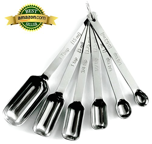Heavy Duty Accurate Narrow Stainless Steel Measuring Spoons, 6 piece set, Chef Quality and Commercial Durability