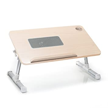 Charming Quze Adjustable Wooden Laptop Desk Notebook Computer Stand With Built In  Cooling Fan Portable, Foldable
