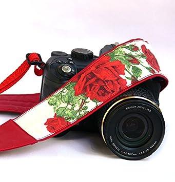 Color rojo Rosas correa de cámara. Cámara réflex digital correa ...