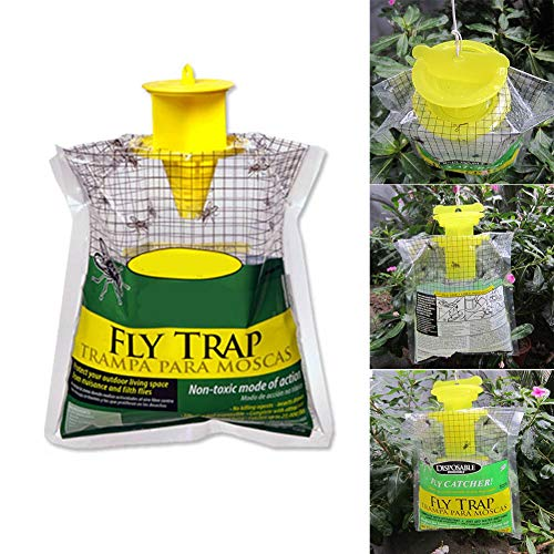 Traps - Fly Trap Catcher Disposable Insect Hanging Style Pest Control Efficiency - Aquarium Jewelry Boots Floats Shirt Jacket Tags Insect Sauce Pouch Team Happiness Stray Electronic ()