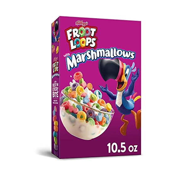 Kellogg's Froot Loops Breakfast Cereal with Fruity Shaped Marshmallows, 298 g