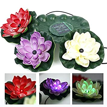 WONFAST® Waterproof Color-changing Solar Floating LED Lotus Light Night Lamp for Pond/Garden/House Lights for Pool /Party Fancy Ideal Novel Creative Gift (3led)
