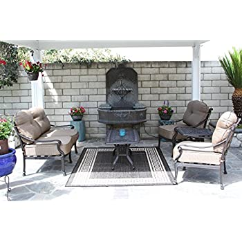 Mandalay Cast Aluminum Powder Coated 5pc Outdoor Patio Deep Seating Set    Antique Bronze