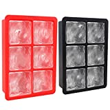 AmnoAmno Silicone Large Ice Cube Trays Set for Whiskey and Easy to Take Ice Out - 2 Pack - 2 Inch Ice Cube Flexible Rubber Molds for Longer Chilled Time,BPA Free, FDA Approved (red&black)