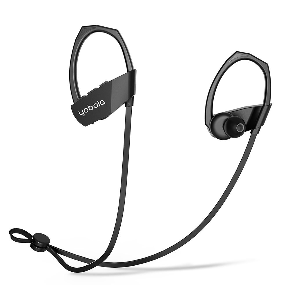 yobola Super Larga Espera Auriculares Bluetooth Correr, Deporte Running Resistente al Sudor Deep Bass Cascos Inalámbricos para IOS, Android, PC, ...