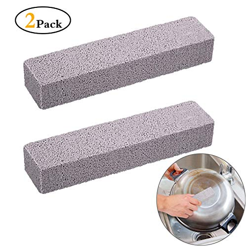 Onene 2 Pieces Pumice Sticks, Pumice Stones for Cleaning, Pumice Scouring Pad, Scouring Bars, Toilet Bowl Ring Remover, for Kitchen, Bath, Pool, Spa, Household Cleaning