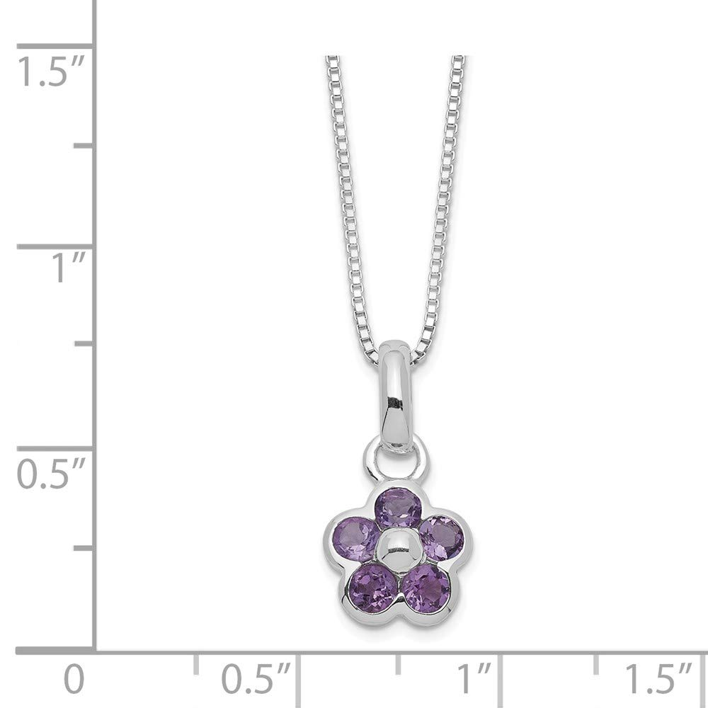 FB Jewels Solid 925 Sterling Silver Amethyst Flower Pendant 16 Chain