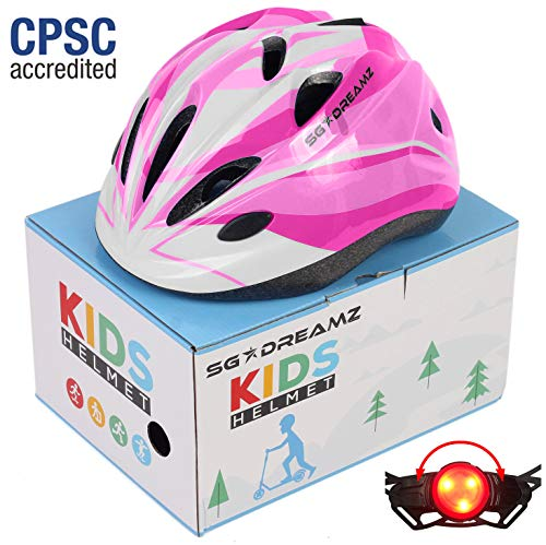 Kids Helmet - Adjustable from Toddler to Youth Size, Ages 3 to 7 - Comes in Great Looking Package Perfect for Gift - Multi-Sports with LED Safety Light - CSPC Certified for Safety (H12+LED+Box+Pink) (Best Looking Bike Helmet)