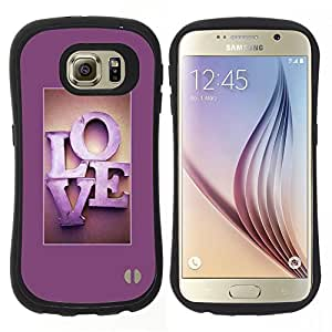 "Hypernova Slim Fit Dual Barniz Protector Caso Case Funda Para Samsung Galaxy S6 [Marco de texto fucsia púrpura minimalista""]"