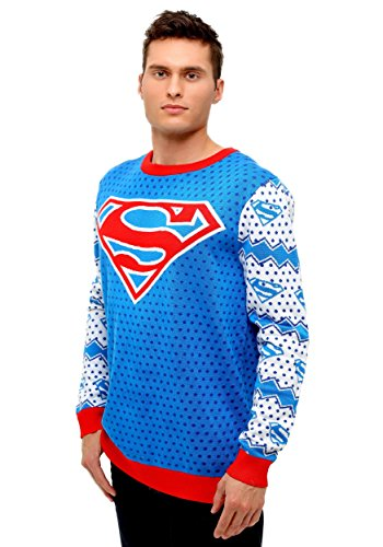 Superman Classic Mens Ugly Christmas Sweater Large -
