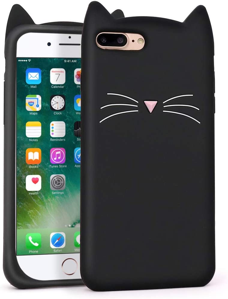 YONOCOSTA Cute iPhone 7 Plus Case, iPhone 8 Plus Case, Funny Fashion 3D Cartoon Animals Black Whisker Cat Ears Kitty Soft Silicone Shockproof Case Cover for iPhone 7 Plus/iPhone 8 Plus (5.5