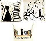 Art Break Cats and Books Cushion Cover Linen Set of 3 Throw Decorative Pillows 18'' x 18'' Cat Love you to the Moon and Back
