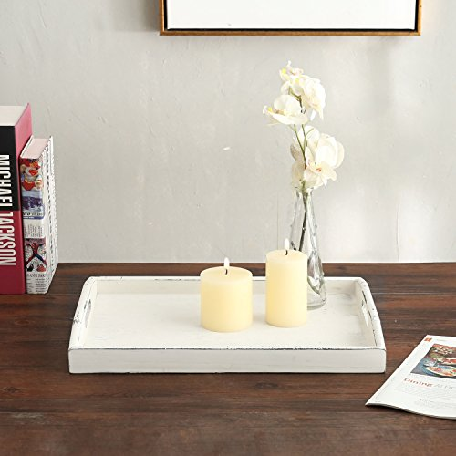 MyGift Vintage Rustic White Wood Nesting Serving Trays with Oval Cutout Handles, Set of 3 by MyGift (Image #2)