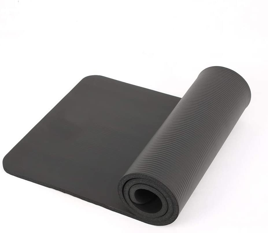 General Packaging Yoga Mat with Carry Handle 15mm Thick Non Slip Gym Exercise Fitness Pilates Workout Mat Black