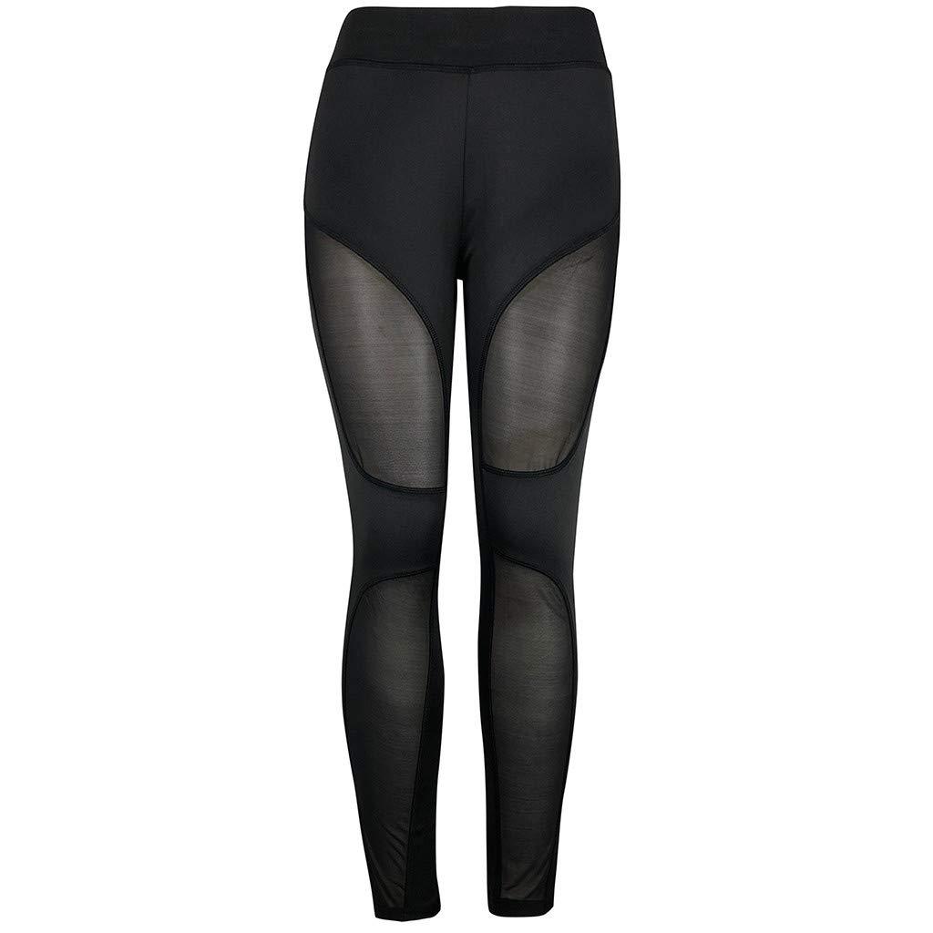 YunZyun Women's High Waist Yoga Pants See-Through Workout Leggings Fitness Sports Stitching Hip Yoga Athletic Pants (M)