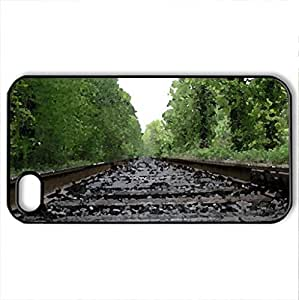 Rail Road Tracks in Portland PA - Case Cover for iPhone 4 and 4s (Watercolor style, Black)