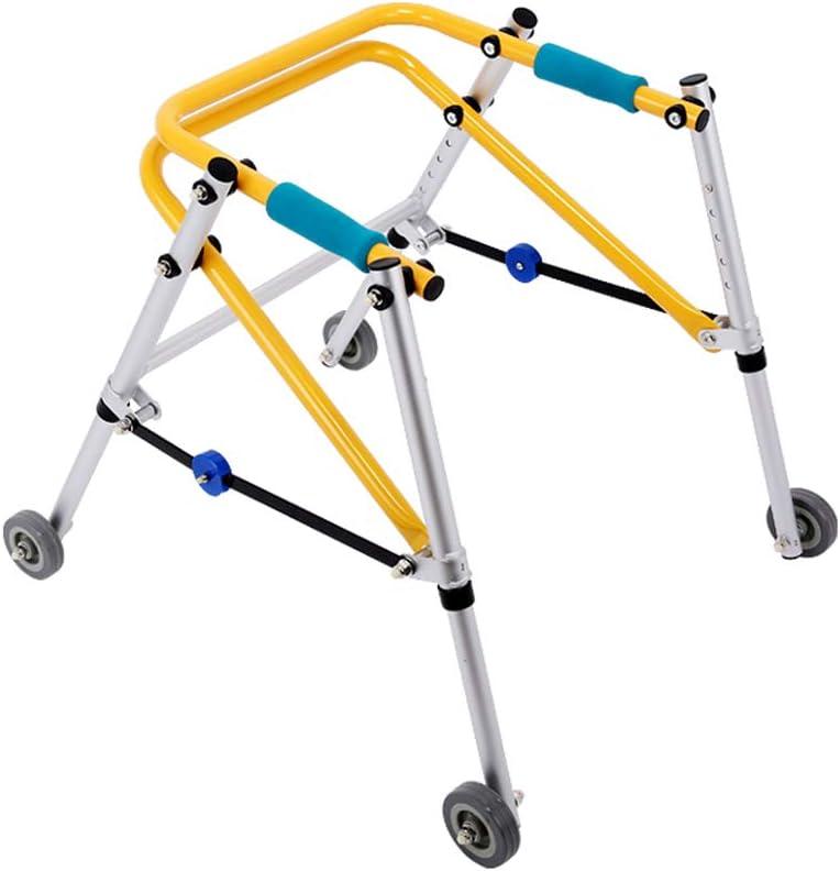 DNSJB andadores para niños Rehabilitación de Las extremidades Inferiores Andador de Entrenamiento Marco orientado para andadores Caminador de Cuatro Ruedas para niños (Size : Smal