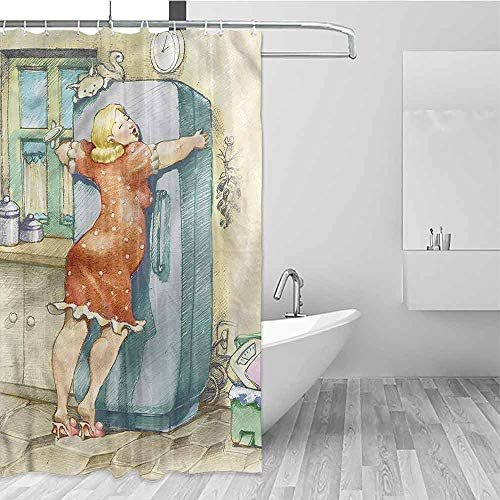 DILITECK Hotel Shower Curtain Funny Plump Woman Hugs The Fridge Bathroom Window Curtains W66 xL72,Shower Curtain for Men