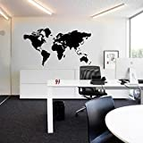 Wawoo Large Size DIY Global World Map Vinyl Wall Sticker Decals Murals, Removable Adhesive Modern Large Size World Map for Home Living Room Office Decoration