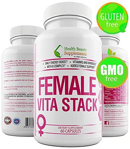 (| HB&S Solutions Female VITA Stack | Multivitamin for Women All Ages & 50 Plus | Gluten Free One Daily Vitamin | | Mental Focus & Immune Enhancer | Female Fertility Supplement | 60 Caps)