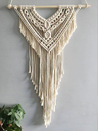 Handmade Boho Macrame Wall Hanging Home Décor (White Macrame)