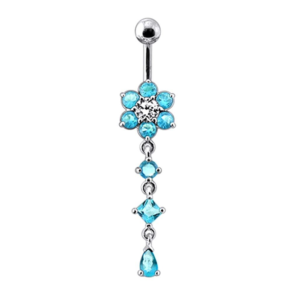 Fancy Flower with Tri Shape Crystal Stone Dangling Silver with Stainless Steel Belly Button Rings