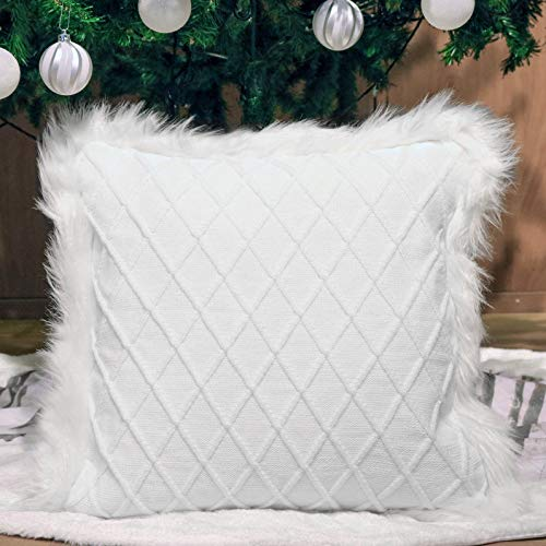 Valery Madelyn Pure White Decorative Throw Pillow Covers 18 x18 with Cable Knitting for Spring and Summer Home Decorations