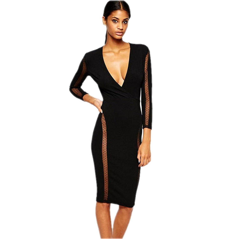 Layisi Women's Deep Novelty Sheath Bodycon Party Dresses Lady Autumn Clothing