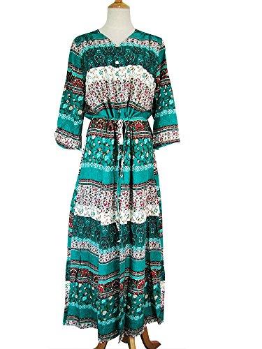 Taille t Bandage Bohmien 3 Plage Imixcity Longue Robe V Floral Col Femme Vert de Imprim Robe 4 Manches Slip Fx6Z1qw