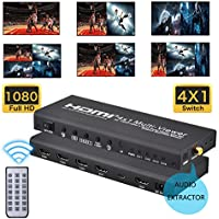 HDMI 4X1 MultiViewer, Quad Viewer with Audio Extractor 1080P 4 in 1 out HDMI Screen Splitter with 5 Modes, Seamless Switch for Game/Exhibition Hall/TV Marketplace/Stock Market/Display Mall etc