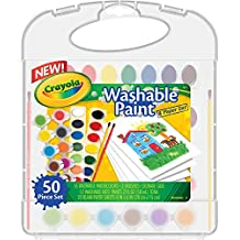Crayola Washable Paint & Paper Set, 50 Pieces Art Tools for Kids 4 & Up, Washable Watercolors, Washable Kids' Paint, Brushes & Paper Sheets In Convenient Travel Case, Perfect for The On-The-Go Artist
