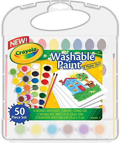 (Crayola Washable Paint & Paper Set, 50 Pieces Art Tools for Kids 4 & Up, Washable Watercolors, Washable Kids' Paint, Brushes & Paper Sheets In Convenient Travel Case, Perfect for The On-The-Go Artist)