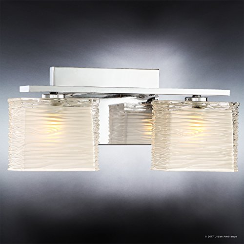 Luxury Modern Bathroom Light, Medium Size: 6.75''H x 15''W, with Style Elements, Polished Chrome Finish and Sandblasted Inner, Clear Wavy Outer Glass, G9 LED Technology, UQL2721 by Urban Ambiance by Urban Ambiance (Image #2)