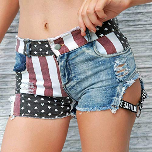 Coohole-Summer Set Passionate Fire Shorts Hot Pants American Flag Cowgirl Jeans High Waist Hole High Waist Hole Pockets Mini Shorts Pants Jeans