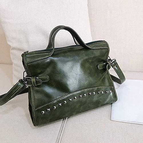 Tracolla Tote Cuoio Verde Color Spalla Con A Vintage Rivetto Pelle In Feixiang Borse Borsa Vera qBwpyOI