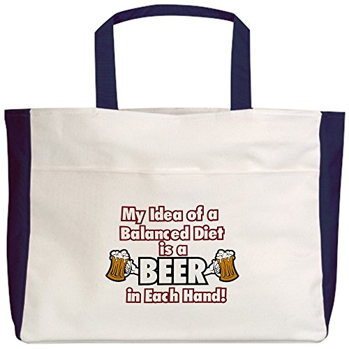 royal-lion-beach-tote-2-sided-my-idea-balanced-diet-beer-each-hand-navy