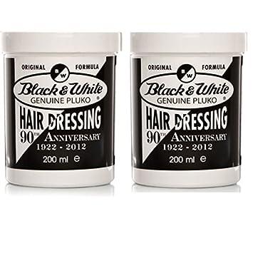 Amazon Black White Genuine Pluko Hair Dressing Pomade 200ml
