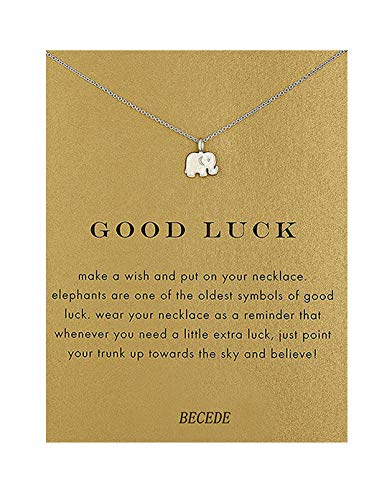 (BECEDE Card Necklace Butterfly Palm Aliens Lotus Cat-Ears Lucky Bird Pendant Chain Necklace with Meaning Card (Elephant-Silver))