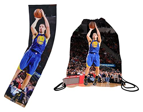 Forever Fanatics Golden State Klay Thompson #11 Basketball Gift Set ✓ Thompson #11 Picture Backpack & Matching Picture Compression Shooter Arm Sleeves (Youth Size (6-13 Years), Thompson #11 Gift Set)