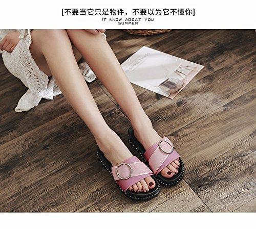 semi shoes fashion flat bottomed Slippers wear summer buttons women's beach cool Pink slippers vxZABq