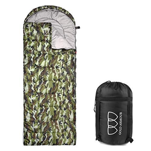 Camouflage Sleeping Bag For Boys (Gold Armour Sleeping Bag for Indoor and Outdoor Use - Great for Kids, Boys, Girls, Teens, Adults. Ultralight and Compact Bags for Sleepover, Backpacking, Camping (Camouflage - Left)